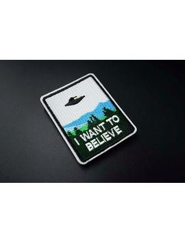 I Want To Believe Space Aliens X Files Ufo Iron On Embroidered Patch Badge by Etsy