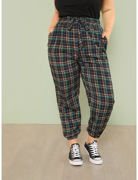Plus Plaid Print Tapered Pants by Romwe