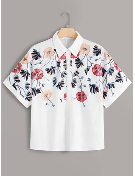 Plus Floral Embroidered Button Through Blouse by Romwe