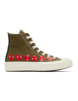 Khaki Converse Edition Multiple Heart Chuck 70 High Sneakers by Comme Des GarÇons Play