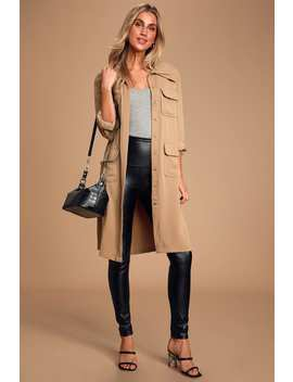Franki Taupe Button Down Trench Coat by Lulus