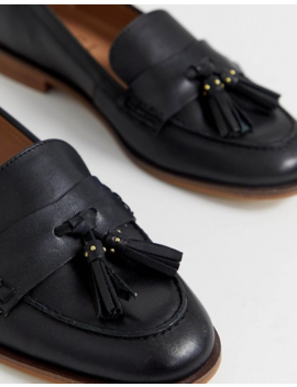 Office Fiza Black Leather Fringed Flat Loafers by Office