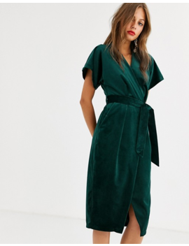 Closet London Wrap Tie Velvet Midi Dress In Emerald Green by Closet