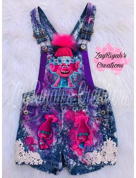 Girls Trolls Custom Birthday Outfit Overalls by Etsy