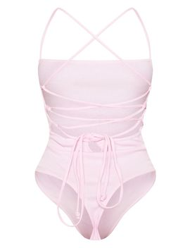 Baby Pink Rib Strappy Back Thong Bodysuit  by Prettylittlething