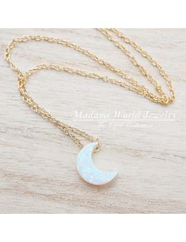 Reconstitute White Opal Crescent Moon Necklace by Etsy