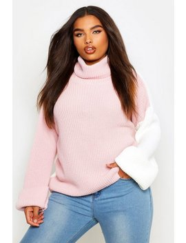 Plus Contrast Colour Block Roll Neck Sweater by Boohoo