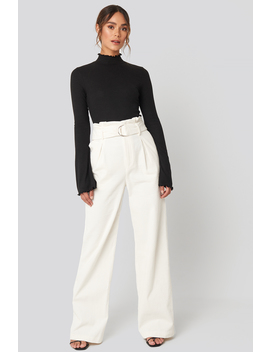 Paper Waist Wide Leg Pants White by Hannaweigxnakd