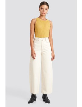 Raw Hem Wide Leg Jeans White by Na Kd Trend