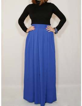 Cobalt Blue Chiffon Maxi Skirt With Pockets Women Skirt Long Skirt High Waisted Skirt by Etsy