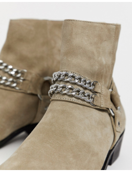 Asos Design Stacked Heel Western Chelsea Boots In Stone Suede With Buckle And Chain Detail by Asos Design