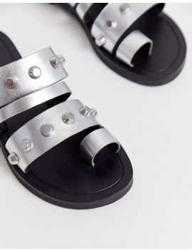 Asos Design Freewheel Premium Leather Studded Toe Loop Sandals In Silver by Asos Design