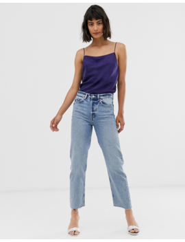 &Amp; Other Stories Straight Leg Jeans With Raw Hem In Mid Blue by & Other Stories