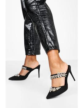 Embellished Trim Pointed Toe Heel Mules by Boohoo