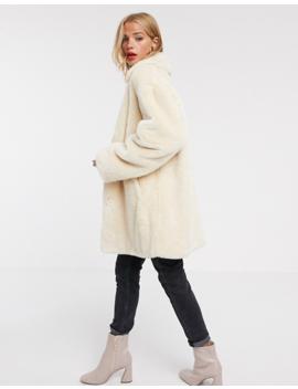 Asos Design Faux Fur Button Through Coat In Cream by Asos Design