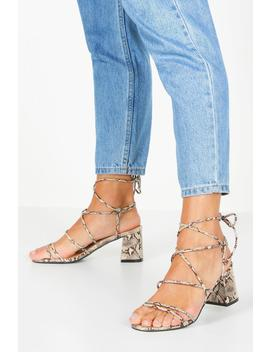 Extra Wide Fit Snake Block Heels by Boohoo