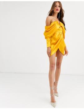 Asos Design Bandeau Mini Dress In Premium Satin With Drape Sleeve by Asos Design