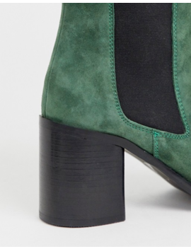 Asos Design Reverse Suede Square Toe Chelsea Boots In Green by Asos Design