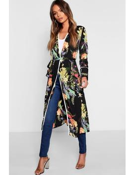 Dark Tropical Floral Belted Kimono by Boohoo