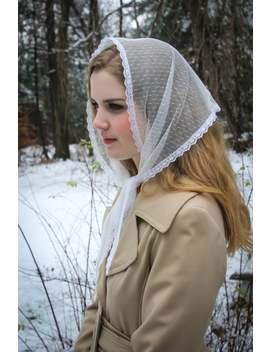 Evintage Veils~ So Soft  Vintage Inspired  Lace Head Covering  Kerchief Tie Style Head Covering Church Veil White Or Black by Etsy