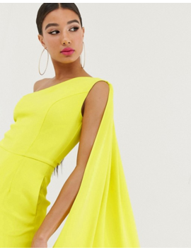 Yaura One Shoulder Wide Leg Jumpsuit With Train Detail In Lime by Yaura