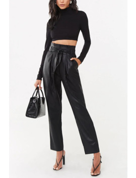 Faux Leather Paperbag Pants by Forever 21