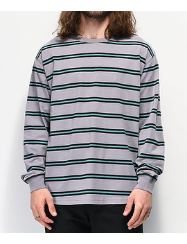Empyre Recon Grey &Amp; Blue Stripe Long Sleeve T Shirt by Empyre