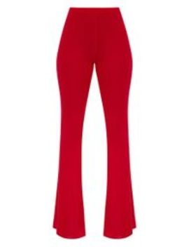 Petite Red Basic Flare Leg Pants by Prettylittlething