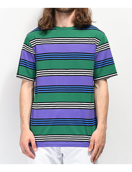 Zine Bonus Purple, Green &Amp; Black Striped T Shirt by Zine