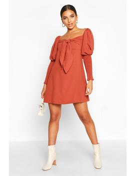 Off The Shoulder Puff Sleeve Shift Dress by Boohoo