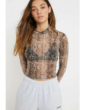 Uo Snake Print Mesh Top by Urban Outfitters