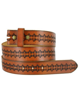 "Bs042 Full Grain Tooled Leather Belt Strap, 1 1/2"" Wide by Belts.Com"