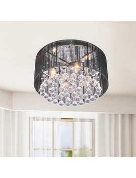 Silver Orchid 4 Light Black Shade Chrome Crystal Flushmount Chandelier by Silver Orchid