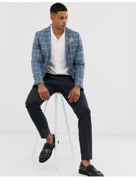 River Island Blazer In Blue Check by River Island