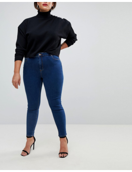 Asos Design Curve Ridley Skinny Jeans 2 Pack In Black And Mid Blue Wash Save 16% by Asos Design