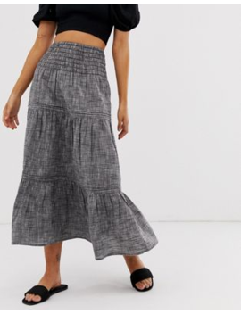 Asos Design Grey Chambray Tiered Midi Skirt by Asos Design