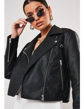 Petite Black Ultimate Boxy Faux Leather Biker Jacket by Missguided