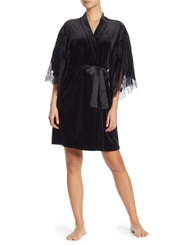 Lace Trimmed Velour Robe by Natori