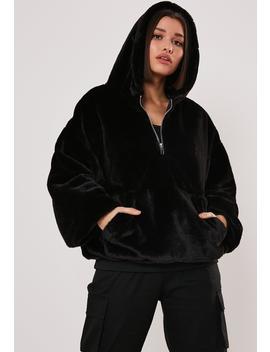 Black Faux Fur Hoodie by Missguided