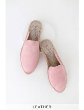Bermuda Pink Kid Suede Leather Espadrille Loafer Slides by 42 Gold