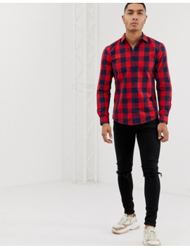 Pull&Bear Check Shirt In Red by Pull&Bear