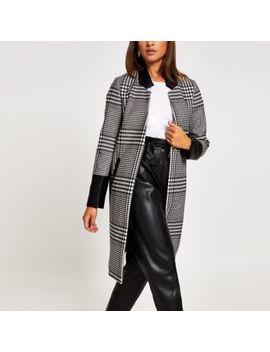 Black Check Pu Longline Coat by River Island