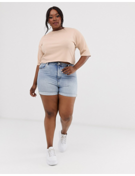 Asos Design Curve Boxy T Shirt In Rib In Stone by Asos Design