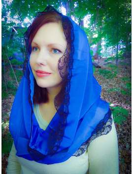 Blue Chapel Veil For Church In The Infinity Style, Blue Catholic Mantilla Veil For Mass By Benedicta Boutique by Etsy