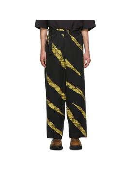 Black & Yellow Wind Print Belted Trousers by Issey Miyake Men