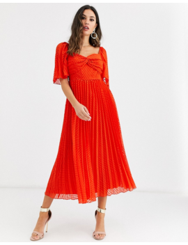 Asos Design Twist Front Pleated Midi Dress With Angel Sleeve In Chevron Dobby by Asos Design