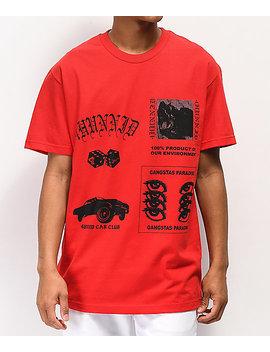 4 Hunnid Collage Red T Shirt by 4 Hunnid