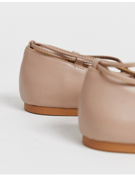 Asos Design Laffy Ghillie Ballet Flats In Taupe by Asos Design