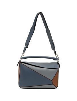 Blue & Tan Large Puzzle Bag by Loewe