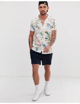 River Island Linen Shirt In White Print by River Island